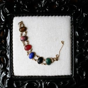 Vintage Semi-Precious Stone Scarab Bracelet